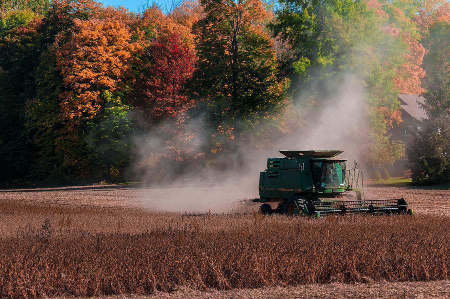 Combine Photograph - Autumn Harvest by Gene Sherrill