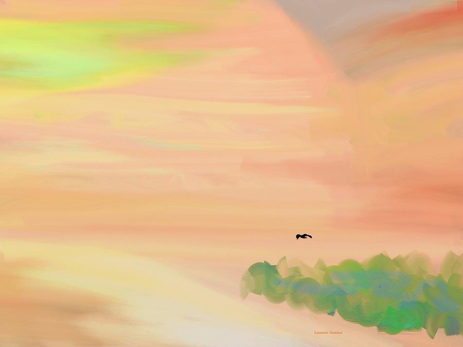 Minimal Painting - Autumn Hills by Lenore Senior