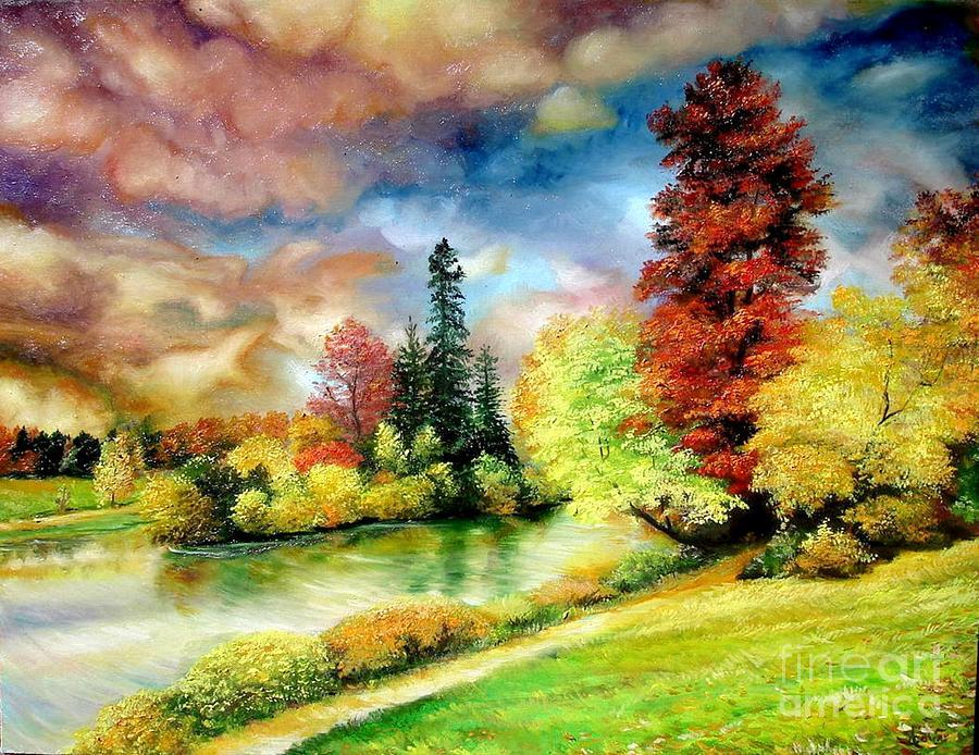 Autumn In Park Painting