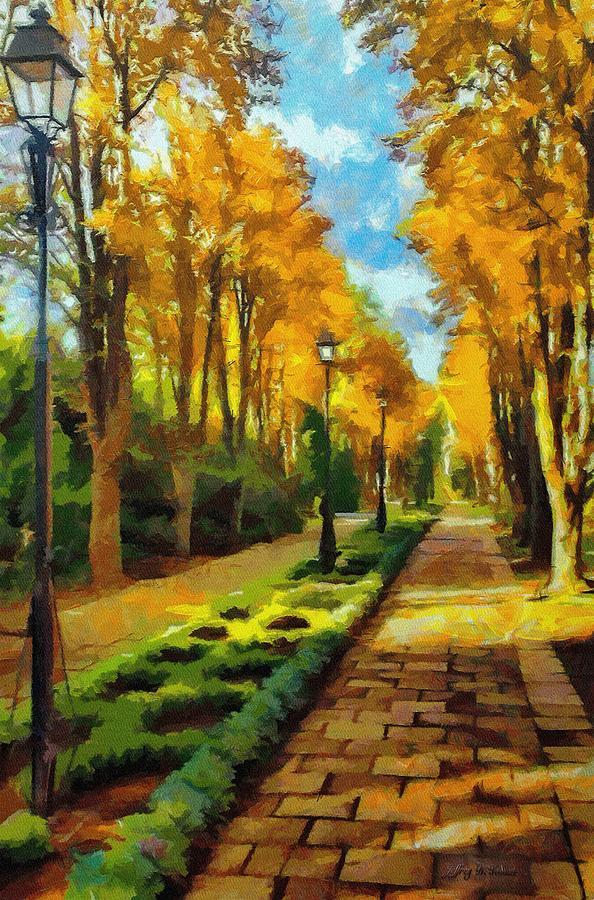Fall Painting - Autumn In Public Gardens by Jeff Kolker