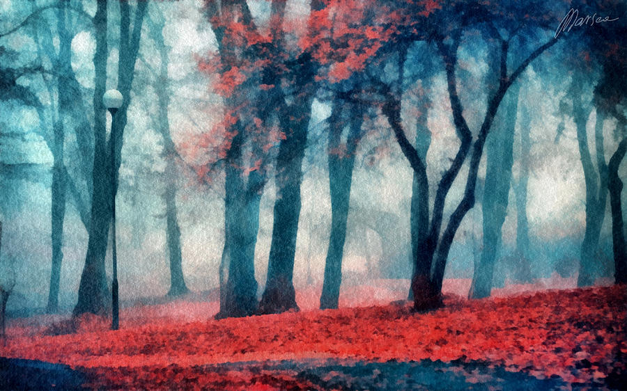 Autumn Digital Art - Autumn In The City by Marina Likholat