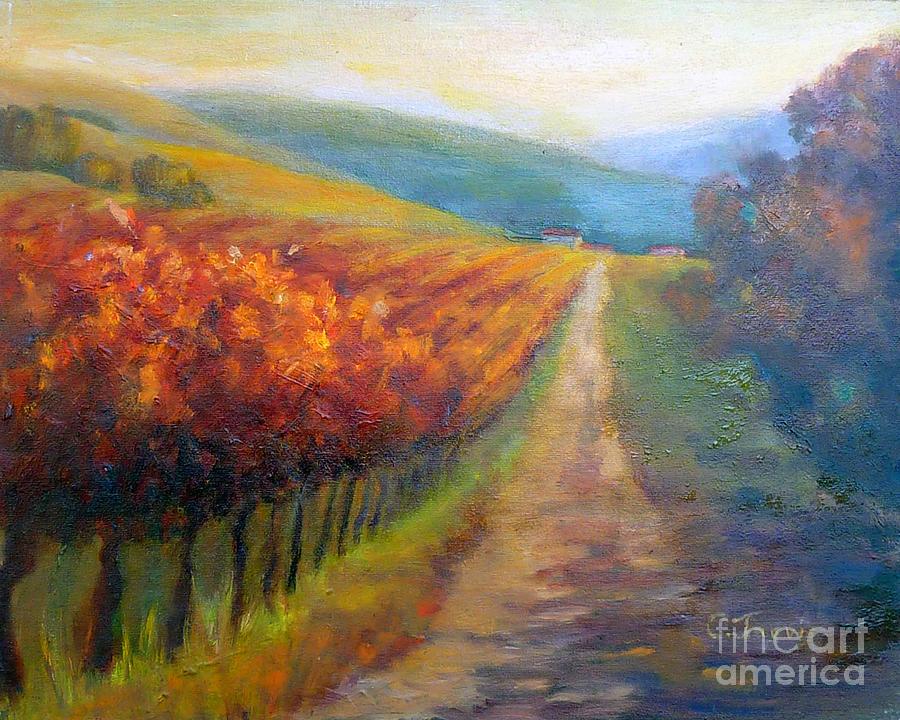 Vineyards Painting - Autumn In The Vineyard by Carolyn Jarvis