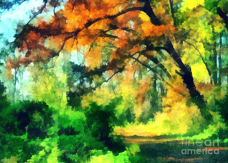 Odon Painting - Autumn In The Woods by Odon Czintos