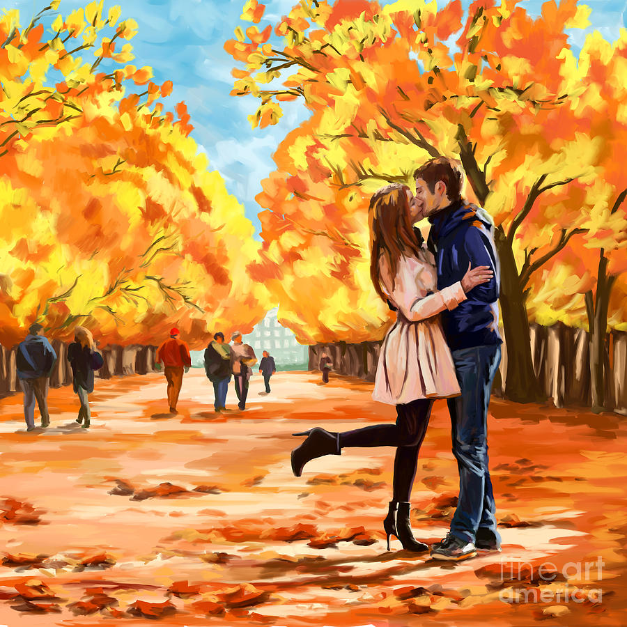 Autumn Kiss In Park Painting By Tim Gilliland