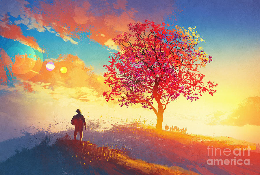 Autumn Landscape With Alone Tree Digital Art By Tithi Luadthong