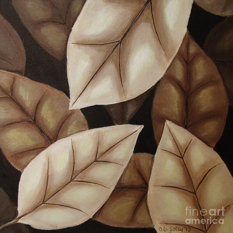 Fall Leaves Painting - Autumn Leaves In Sepia by Anna Bronwyn Foley
