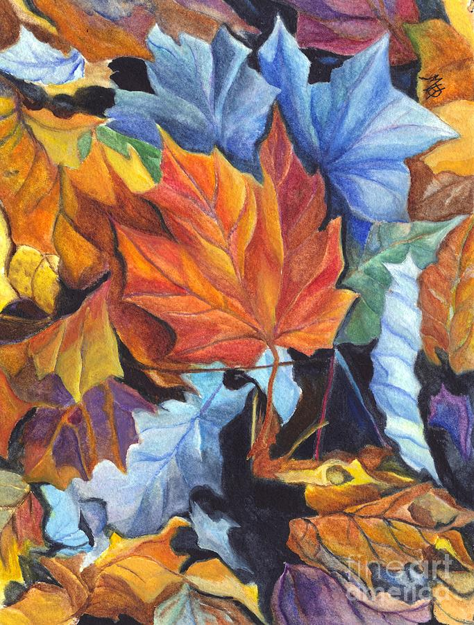 Autumn Leaves Of Red And Gold Painting by Carol Wisniewski