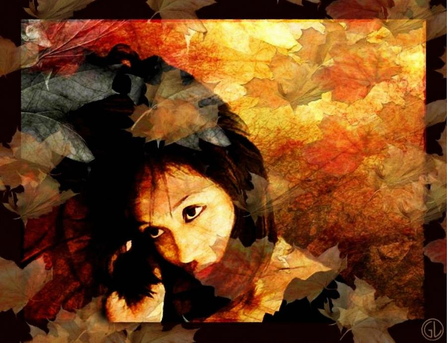 Woman Digital Art - Autumn Leaves Whirling by Gun Legler