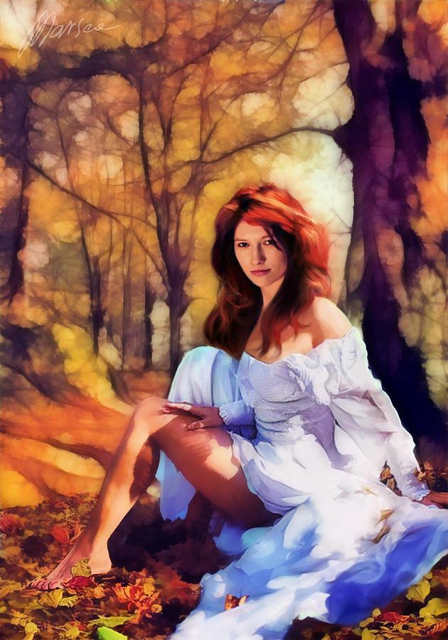 Female Portrait Painting - Autumn by Marina Likholat