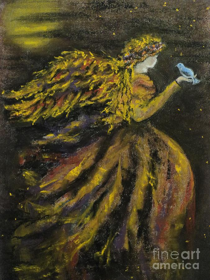 Angel Drawing - Autumn Moon Angel by Carla Carson