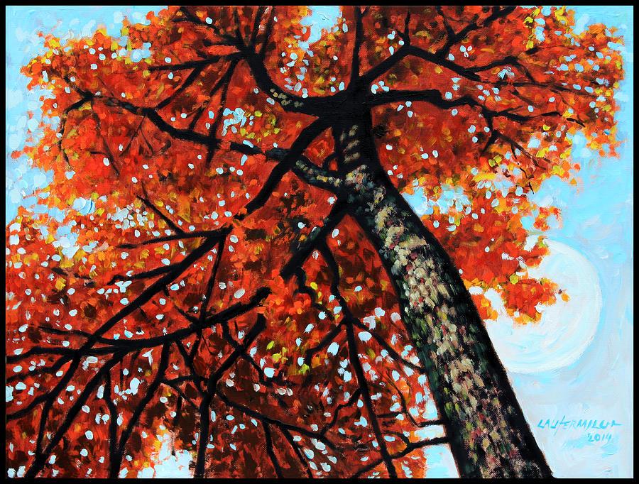 Autumn Painting - Autumn Moon by John Lautermilch