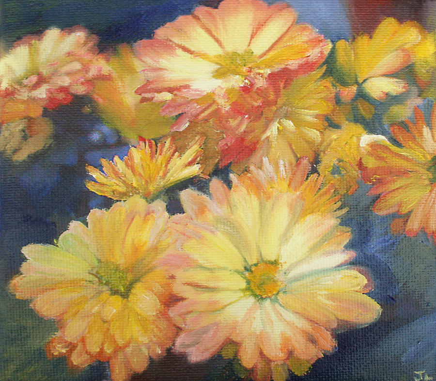 Mums Painting - Autumn Mums by Jennifer Lycke