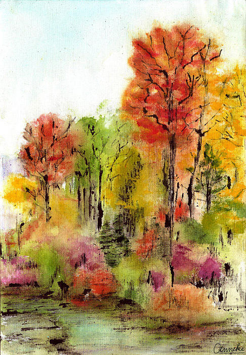 Landscape Fall /image Copyright � Anneke Hut/  Painting - Autumn Ode by Anneke Hut