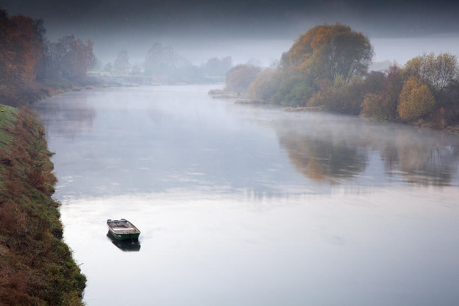 Autumn On Misty Weser River Germany Photograph by Duncan Usher