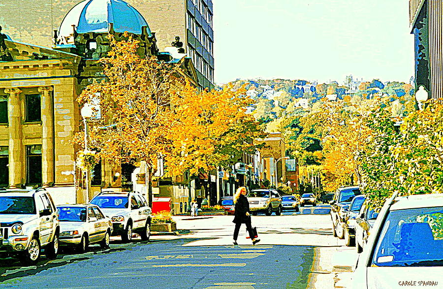 Montreal Painting - Autumn On Mount Royal Greene Avenue Westmount Near Sherbrooke October Montreal City Scene by Carole Spandau