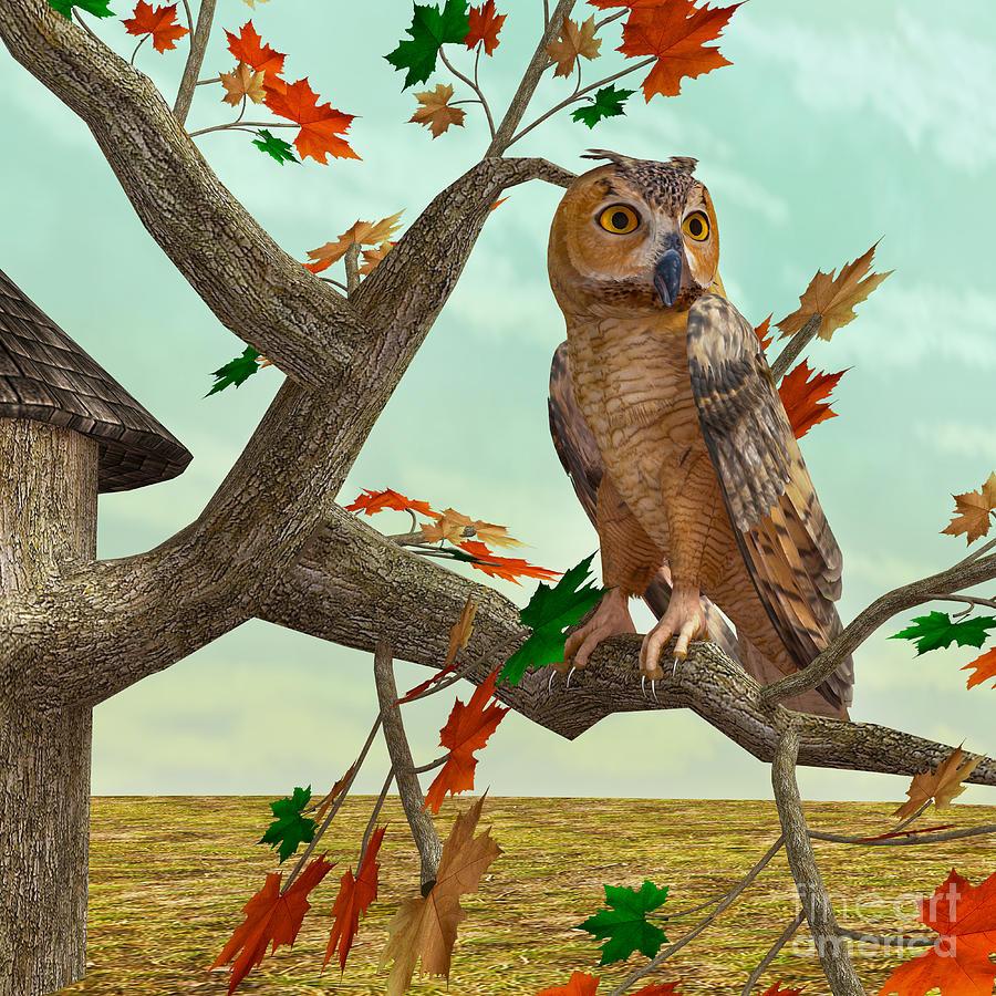 Autumn Owl Digital Art