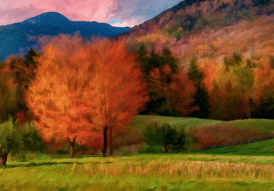 Fall Colors Painting - Autumn Pasture by Michael Pickett