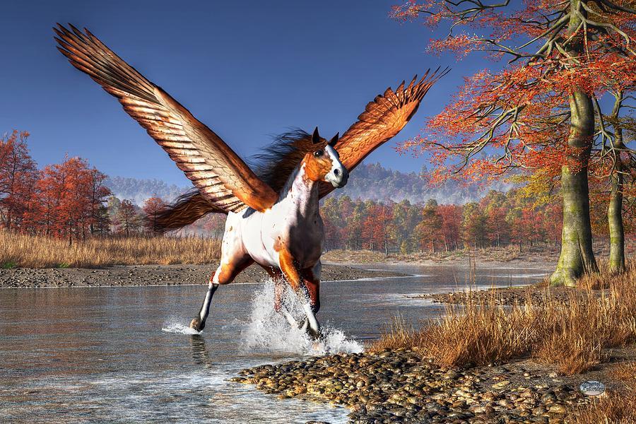Pegasus Digital Art - Autumn Pegasus by Daniel Eskridge