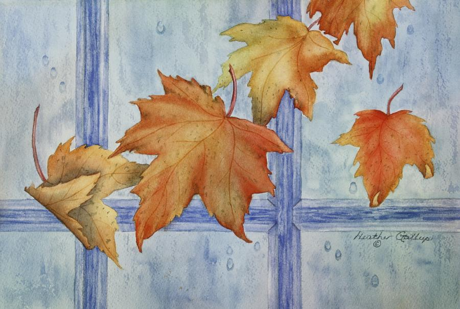 Canadian Maple Leaves Painting - Autumn Rain by Heather Gallup