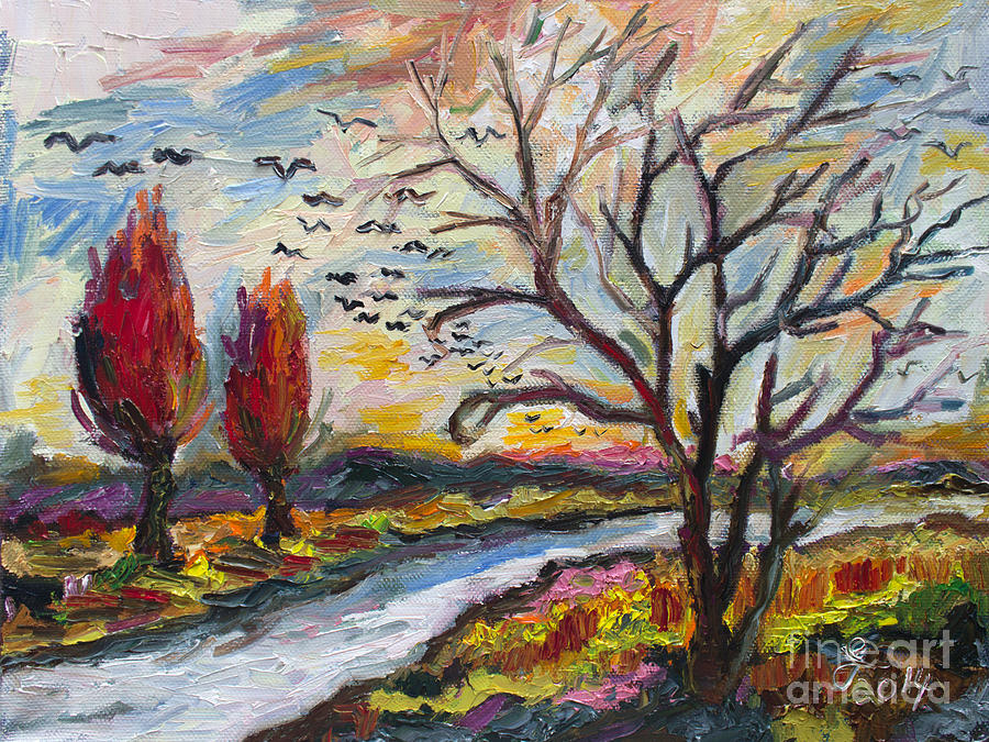 Autumn Red and Bird Migration Painting by Ginette Callaway