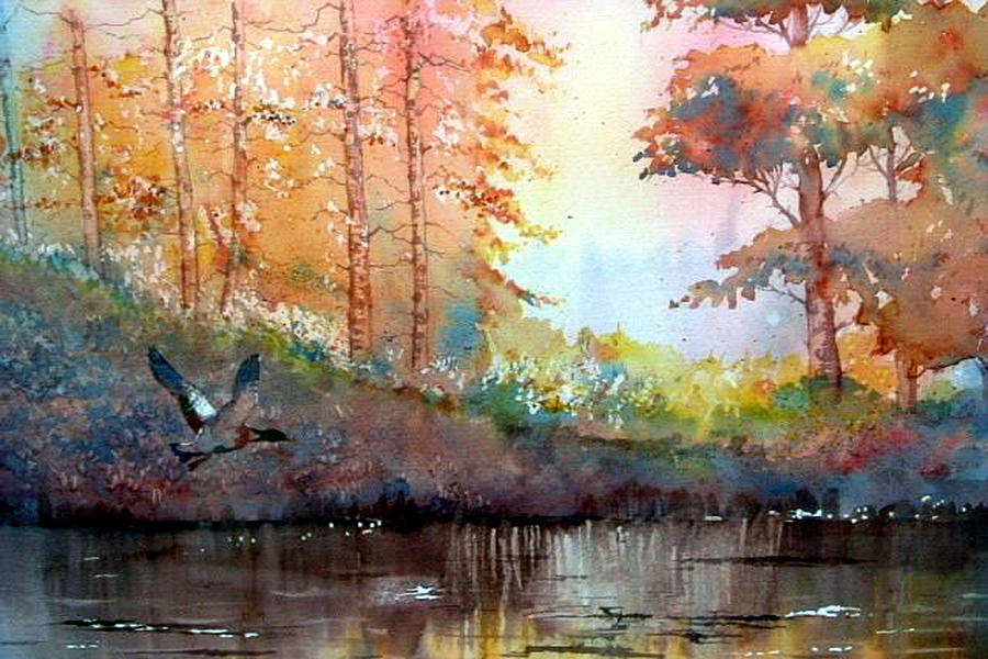 Glenn Marshall Artist Painting - Autumn Reflections by Glenn Marshall