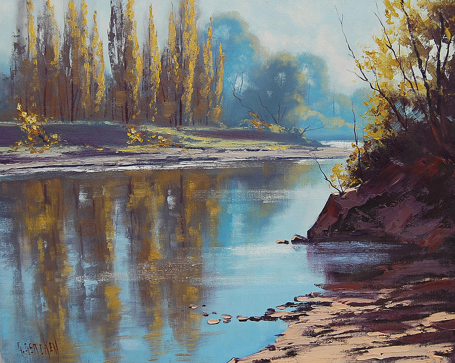 River Painting - Autumn Reflections Tumut River by Graham Gercken
