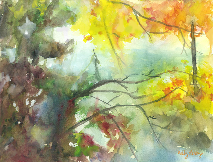 Leaves Painting - Autumn River View by Kelly Perez