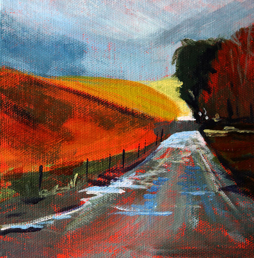 Autumn Painting - Autumn Road by Nancy Merkle