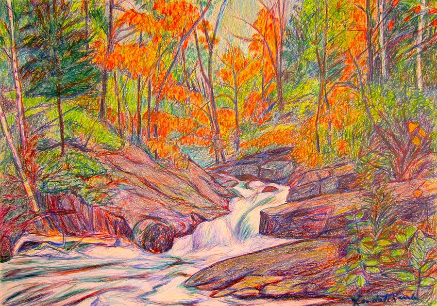 Creek Drawing - Autumn Rush by Kendall Kessler