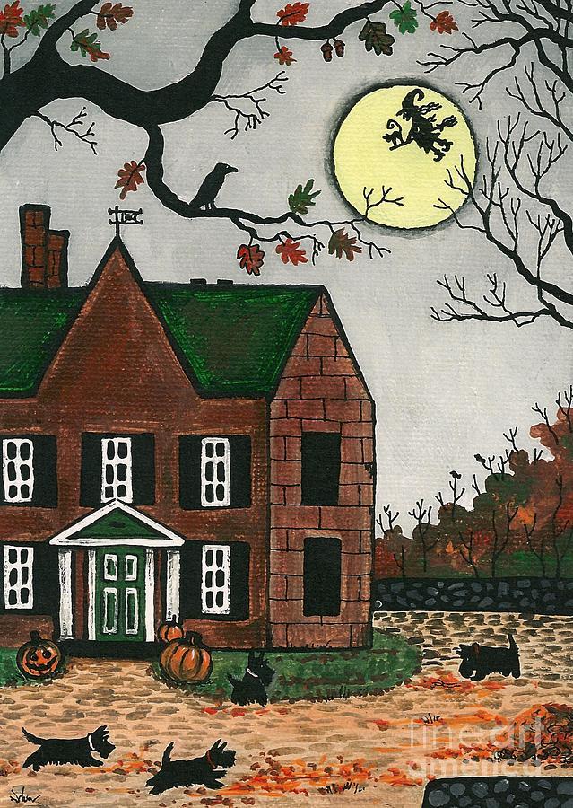 Halloween Painting - Autumn Scotties by Margaryta Yermolayeva