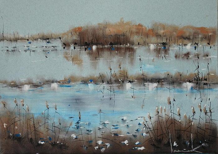 Crayon Drawing - Autumn Silence by Tadeusz Iwanczuk