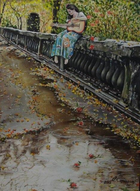 Girl Painting - Autumn Sonata  by Sergey Selivanov