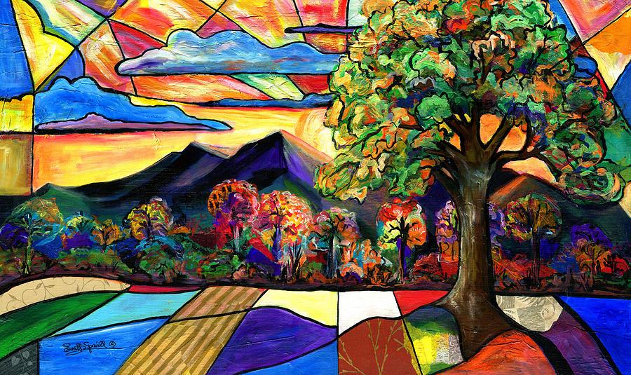 Cubism Painting - Autumn Sunrise by Everett Spruill