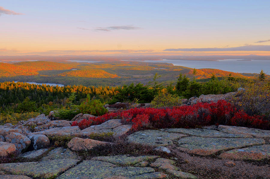 Sunrise Photograph - Cadillac Mountain Autumn Sunrise by Stephen  Vecchiotti