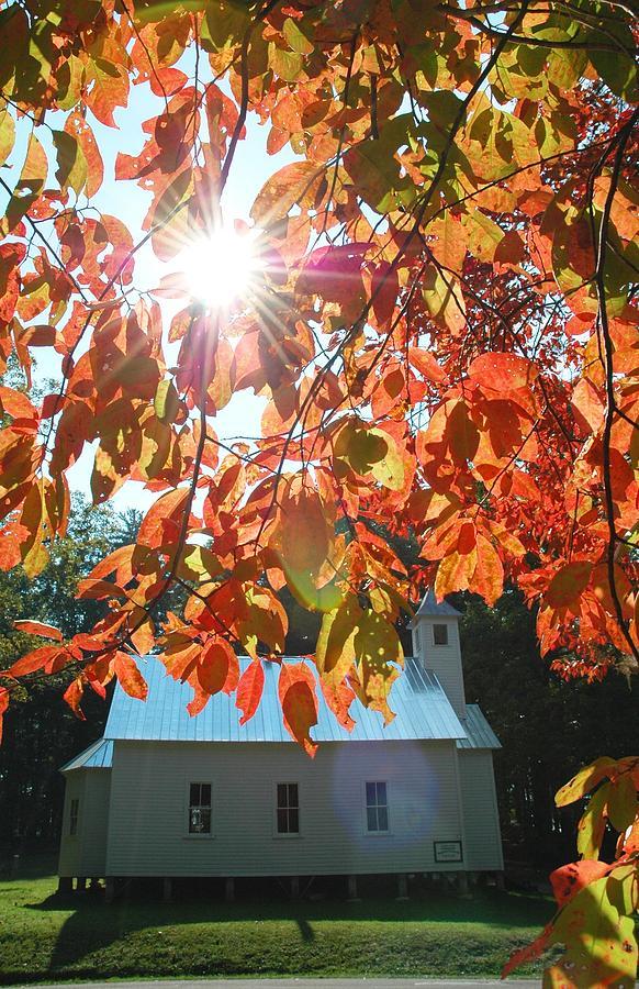 Cades Cove Photograph - Autumn Sunshine Missionary Baptist Church by John Saunders