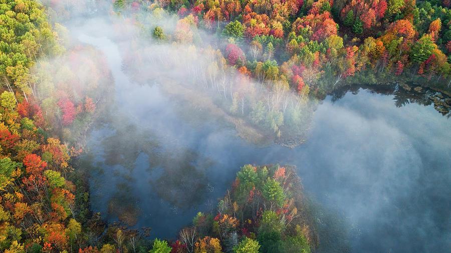 Drone Photograph - Autumn Symphony I by John Fan