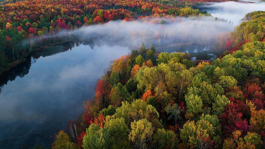 Drone Photograph - Autumn Symphony II by John Fan
