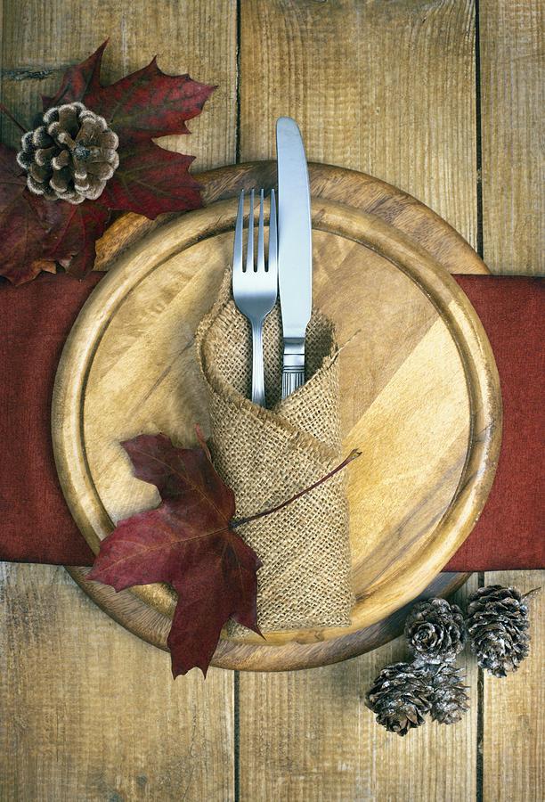 Autumn Photograph - Autumn Table Setting by Amanda Elwell