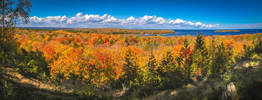 Door County Photograph - Autumn Vistas of Nicolet Bay by Ever-Curious Photography