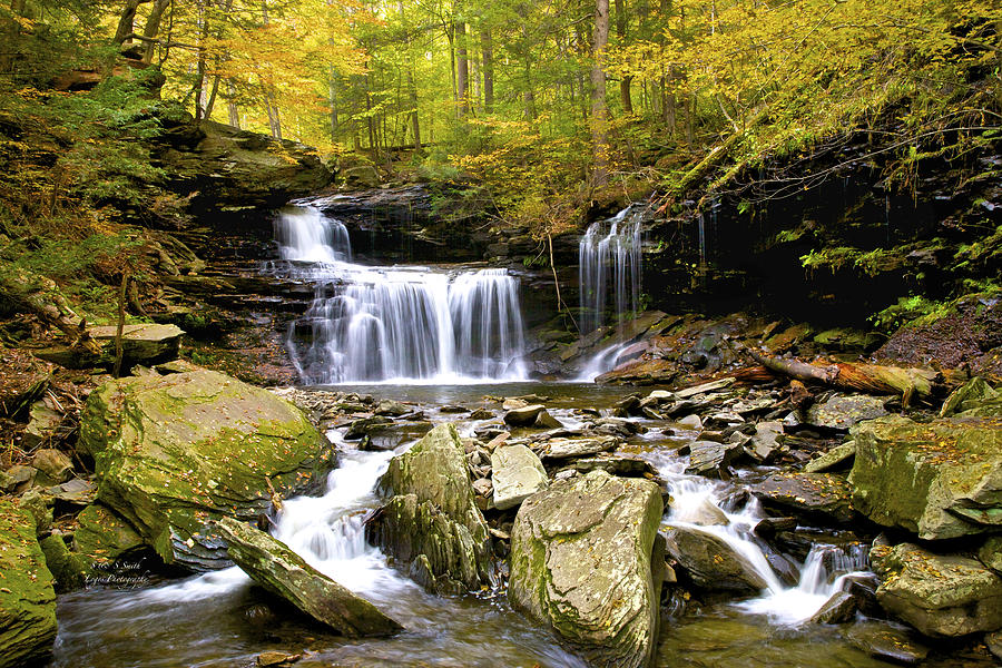 Autumn Waterfall at Rickets Glen  by Steve and Sharon Smith