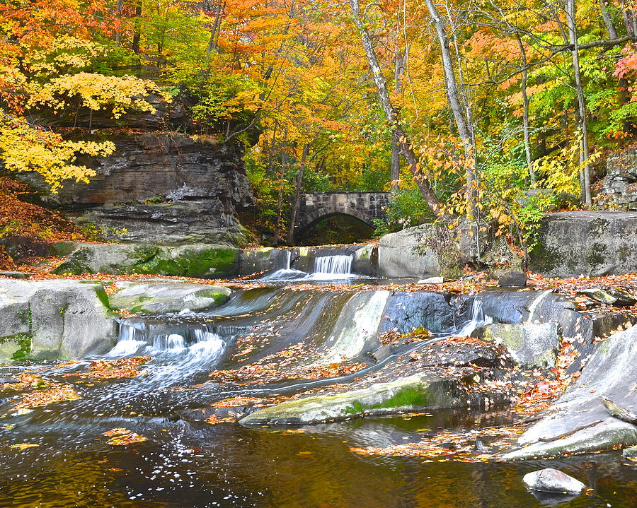 Waterfall Photograph - Autumn Waterfall by Frozen in Time Fine Art Photography