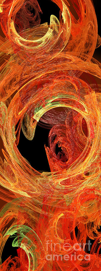 Abstract Digital Art - Autumn Waves by Andee Design
