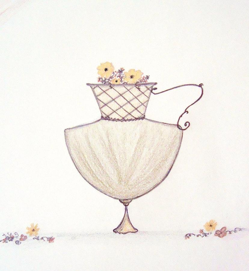 Autumn Flowers Drawing - Autumnal Urn by Christine Corretti
