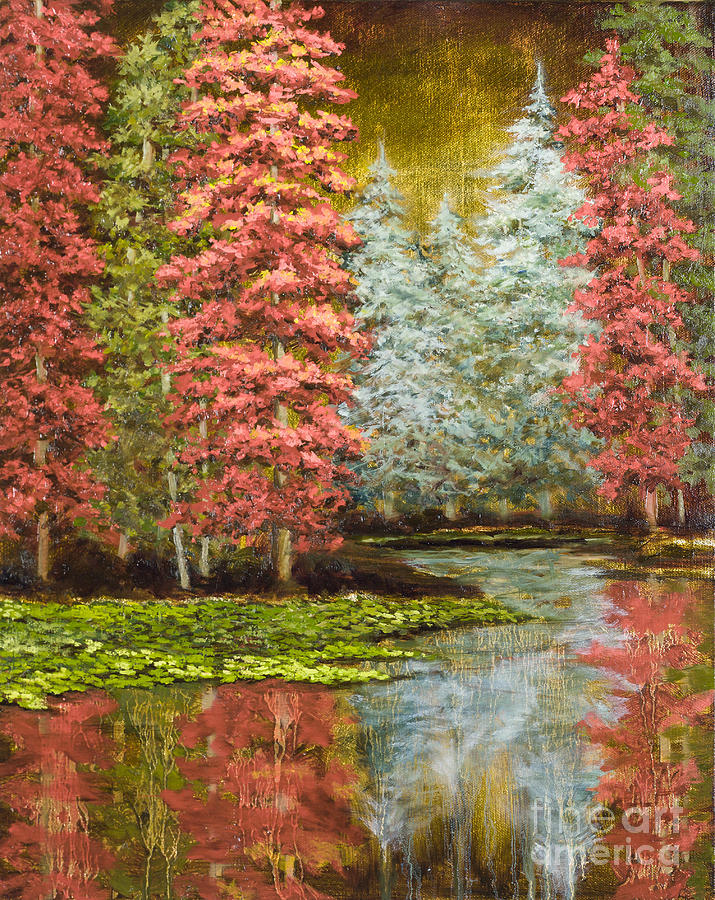 Pine Trees Painting - Autumns Brilliance by Vic  Mastis