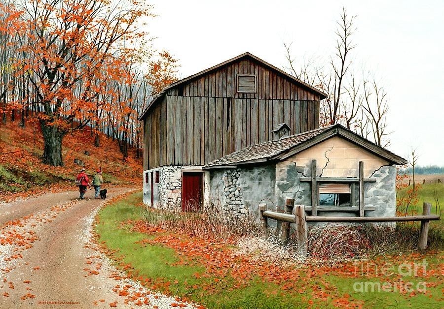 Old Barn Painting - Autumns Past Time  by Michael Swanson