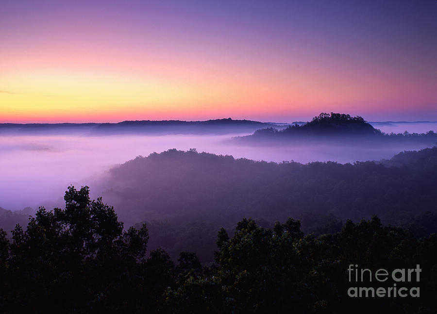 Red Photograph - Auxier Ridge Dawn - Fm000023 by Daniel Dempster