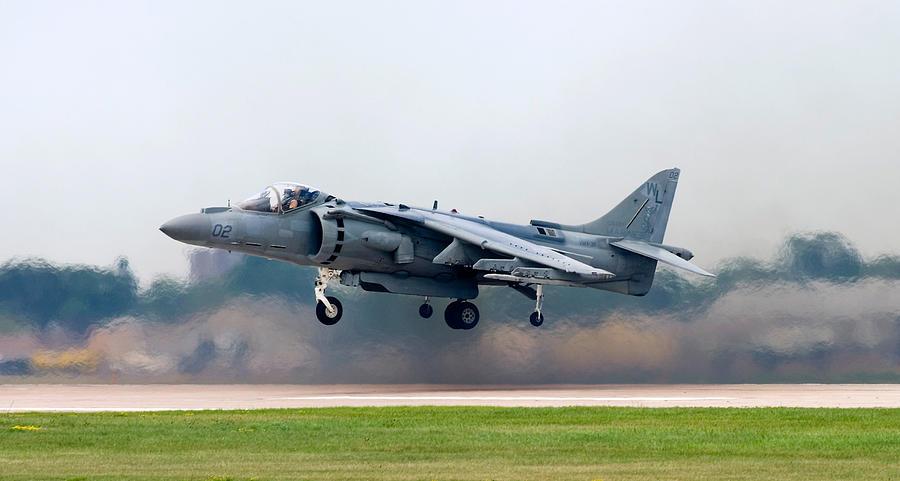 Acrobatic Photograph - Av-8b Harrier by Adam Romanowicz