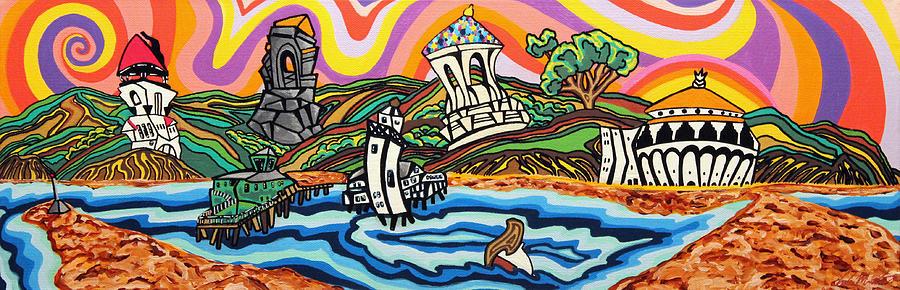 Wrigley Memorial Painting - Avalon Bay by Carlos Martinez