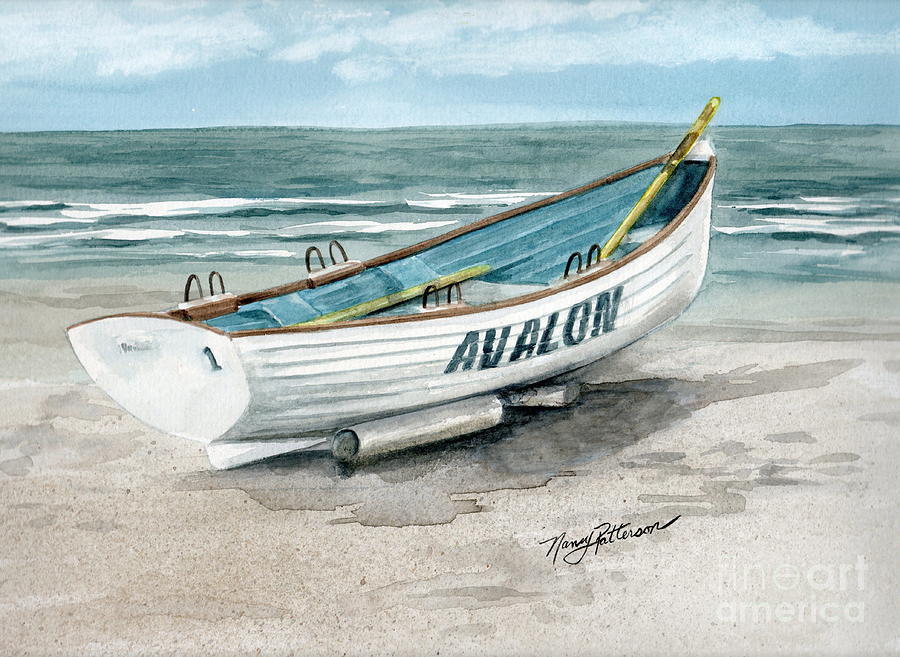 64aed821698 Avalon Lifeguard Boat Painting by Nancy Patterson