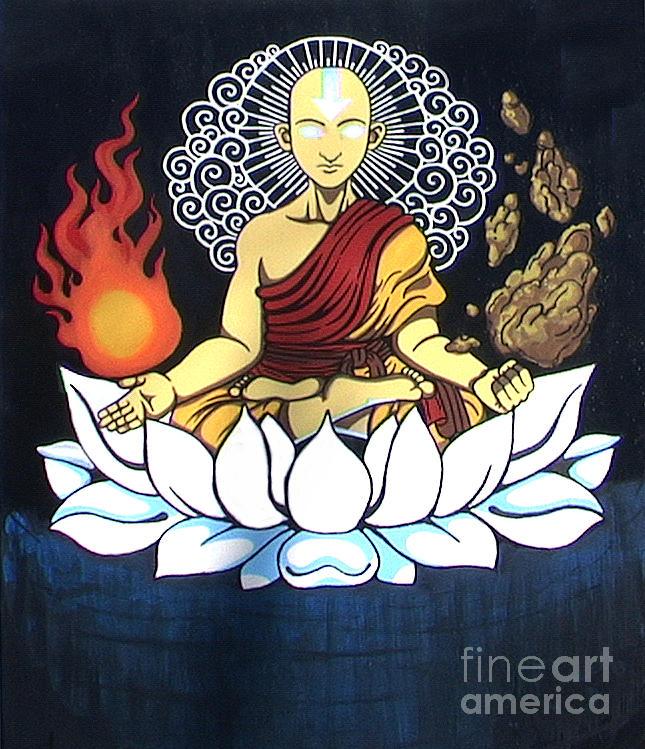 Aang Painting - Avatar Aang Buddha Pose by Jin Kai